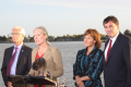 Federal Natural Resources Minister Jim Carr, Environment Minister Catherine McKenna, Premier Christy Clark, Fisheries and Oceans Minister Dominic LeBlanc at Tuesday's announcement in Richmond. Photo: Nelson Bennett