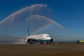 Xiamen Airlines' first flight to the United States is welcomed at Seattle-Tacoma International Airport with a traditional water cannon salute. Photo: Port of Seattle