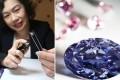 This combo shows Maria Chiam, Argyle Pink Diamonds principal marketing executive, with a rare pink diamond, the 2.83 carat Argyle Violet (right). Photo: Jonathan Wong