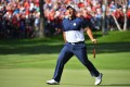 Patrick Reed stirs up the fans in his showdown with Rory McIlroy at Hazeltine. Photo: Minneapolis Star Tribune
