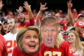 KANSAS CITY, MO - SEPTEMBER 25: Kansas City Chiefs fans wear Hillary Clinton and Donald Trump masks during the game bethween the Chiefs and the New York Jets at Arrowhead Stadium on September 25, 2016 in Kansas City, Missouri. Jamie Squire/Getty Images/AFP == FOR NEWSPAPERS, INTERNET, TELCOS & TELEVISION USE ONLY ==