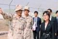 Japan's Defence Minister Tomomi Inada is briefed by senior Self-Defence Forces personnel about their anti-piracy mission off Somalia, in Djibouti. Photo: Reuters
