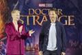 Tilda Swinton and British actor Benedict Cumberbatch promote Doctor Strange in Hong Kong. Photo: EPA