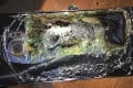 A burnt Samsung Galaxy Note 7 on a table in the United States. Photo: AP