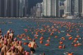 About 3,000 swimmers navigated 1.5km from Lei Yue Mun fishing village in Kowloon to Sai Wan Ho on the other side of Victoria Harbour. Photo: Sam Tsang