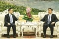 Secretary for the Civil Service Clement Cheung with Vice-President Li Yuanchao in Beijing on Tuesday. Photo: CNS Images