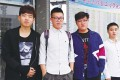 Four students of the Anhui University of Technology who helped a man descend Huangshan. Photo: SCMP Pictures