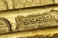 Five-tael (6.65 ounces or 190 grams) gold bars on sale at a jewellery store in Hong Kong. Photo: Reuters
