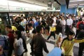 A busy train at Kowloon Tong station heading for Whampoa on Monday morning. Photos: David Wong