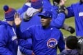 Chicago Cubs relief pitcher Aroldis Chapman celebrates with teammates after defeating the Cleveland Indians in game two of the 2016 World Series at Progressive Field. Photo: USA Today