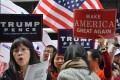 Chinese American Trump supporters on the streets of New York. Photo: SCMP Pictures