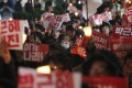 Protesters stage a rally calling for South Korean President Park Geun-hye to step down in downtown Seoul. Photo: AP