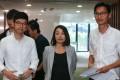 Lawmakers Nathan Law (left), Lau Siu-lai and Eddie Chu remain defiant. Photo: Dickson Lee