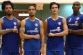 Eastern basketball's new foreign players. From left: Tyler Lamb, Marcus Elliott, Steven Guinchard and Ryan Moss.