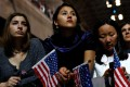 People watch the election results at Hillary Clinton's election night event in New York City. Photo: AFP