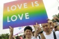 A file picture of revellers at a gay pride parade in Taipei last year. Taiwanese lawmakers are working on three bills in support of marriage equality. Photo: AP