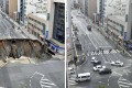 Before and after photos show a huge sinkhole on a major road in the southwestern Japan city of Fukuoka on November 8 and the same section of road, newly repaired, on November15. Photo: Kyodo