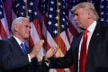 This file photo taken on November 9 shows Republican presidential elect Donald Trump and Vice President elect Mike Pence during election night at the New York Hilton Midtown in New York. Photo: AFP