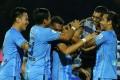 Mohd Faiz Subri is congratulated on his goal. Photo: thestar.com.my