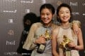 Ma Sichun (left) and Zhou Dongyu pose with their best leading actress trophies at the Golden Horse Awards, won for their roles in Hong Kong director Derek Tsang's Soul Mate. Photo: Reuters
