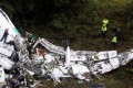 Debris of the plane carrying the Brazilian football team Chapecoense, that crashed in a mountainous area outside the Colombian city of Medellin. Photo: Reuters