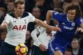 Tottenham Hotspur's Harry Kane battles with Chelsea defender David Luiz in their Premier League match last weekend. Photo: AFP
