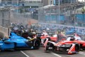 Drivers go into the first corner at the Hong Kong ePrix in Central on October 9. Photo: K. Y. Cheng