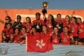 Hong Kong celebrates winning the Asia Rugby Girls U18 Sevens Championship. Photo: SCMP Pictures