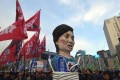 Protesters carry an effigy of South Korea's President Park Geun-Hye during an anti-government rally demanding the resignation of the president in central Seoul. Photo: AFP