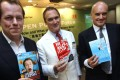 A.A. Gill (centre), flanked by fellow authors Tom Parker Bowles (left) and Nicholas Coleridge at the Hong Kong Book Fair in 2011. Gill has surprised his readers by announcing his cancer diagnosis in his regular restaurant column on the UK Sunday Times. Photo: Sam Tsang