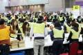 Vote counting at AsiaWorld-Expo on Lantau Island. Photo: Edward Wong