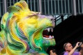 One of the two rainbow lion statues outside HSBC headquarters in Central. Photo: Felix Wong
