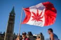 A woman waves a flag with a marijuana leaf in place of the familiar Canadian maple leaf on National Marijuana Day on Parliament Hill in Ottawa on April 20. Photo: AFP