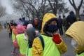 Children wearing face masks in heavy smog in Beijing on Wednesday. Photo: AFP