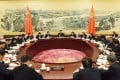 Party General Secretary Xi Jinping (centre) presides over a Politburo meeting earlier this week. Photo: Xinhua