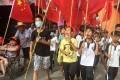 Villagers including schoolchildren took part in a protest in June, demanding the release of their village chief Lin Zuluan, in Wukan. Photo: Reuters