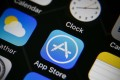 The icon of Apple's App Store (C) is pictured on an iPhone in Taipei, Taiwan. Photo: EPA