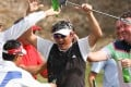 Unho Park is doused after winning the FTLife HKPGA Championship in Clearwater Bay. Photo: Handout