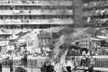 Demonstrators burn the bamboo baskets during the Hong Kong riots in 1967.