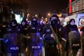 Turkish police officers block the road leading to the scene of an attack in Istanbul. Photo: AP