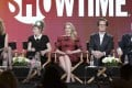 From left, Laura Dern, Kimmy Robertson, Madchen Amick, Kyle MacLachlan and Robert Forster discuss Twin Peaks with TV critics. Photo: AP