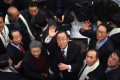 Former UN secretary general Ban Ki-moon waves as he arrives at the Incheon International Airport. Photo: AFP