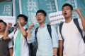 Umbrella movement leaders (from second left) Joshua Wong, Nathan Law and Alex Chow at Eastern Court in Sai Wan Ho last September. Hong Kong needs its youth to demonstrate a willingness and openness to embrace contrasting views in society. Photo: David Wong