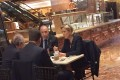 Far-right French presidential candidate Marine Le Pen (right) is spotted at Trump Tower on Thursday, having coffee at Trump Ice Cream Parlor . Photo: AFP