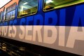 A train with the words Kosovo is Serbian written on it in different languages, before departing a railway station in Belgrade, Serbia, on Friday. Photo: EPA