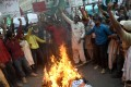 Pakistani protesters burn an effigy of Indian Prime Minister Narendra Modi in Karachi. Photo: AFP