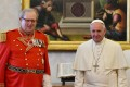 Robert Matthew Festing, Prince and Grand Master of the Sovereign Order of Malta, with Pope Francis. Photo: EPA