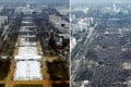 Crowds at the inauguration ceremony for US President Donald Trump in Washington on January 20 (left) and those at the first swearing-in for two-term preceding president Barack Obama, on the same day in 2009. Photo: Reuters
