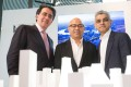 Peninsula Place architect Santiago Calatrava (from left), Knight Dragon vice-chairman Sammy Lee and London mayor Sadiq Khan stand in front of the model of the Greenwich Peninsula redevelopment project. Photo: Handout