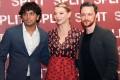 Director M. Night Shyamalan with Split stars Anya Taylor-Joy and James McAvoy. Photo: EPA